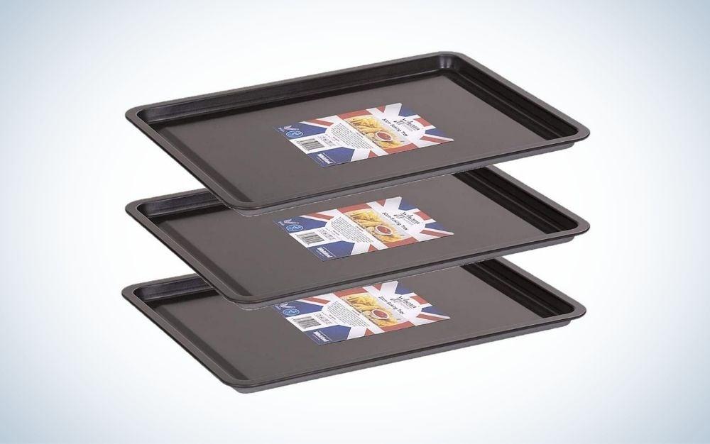 3 black alloy steel backing trays