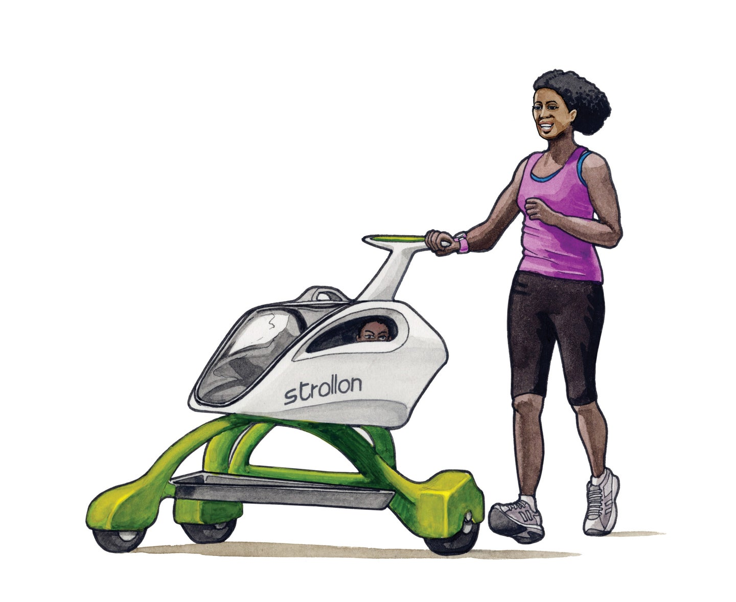 Parent in pink tank top pushing baby in a futuristic green and white stroller