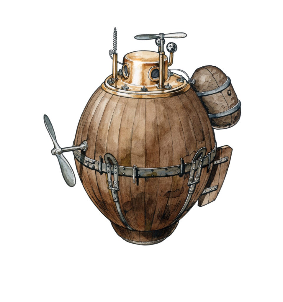 Wooden barrel with rotating blades