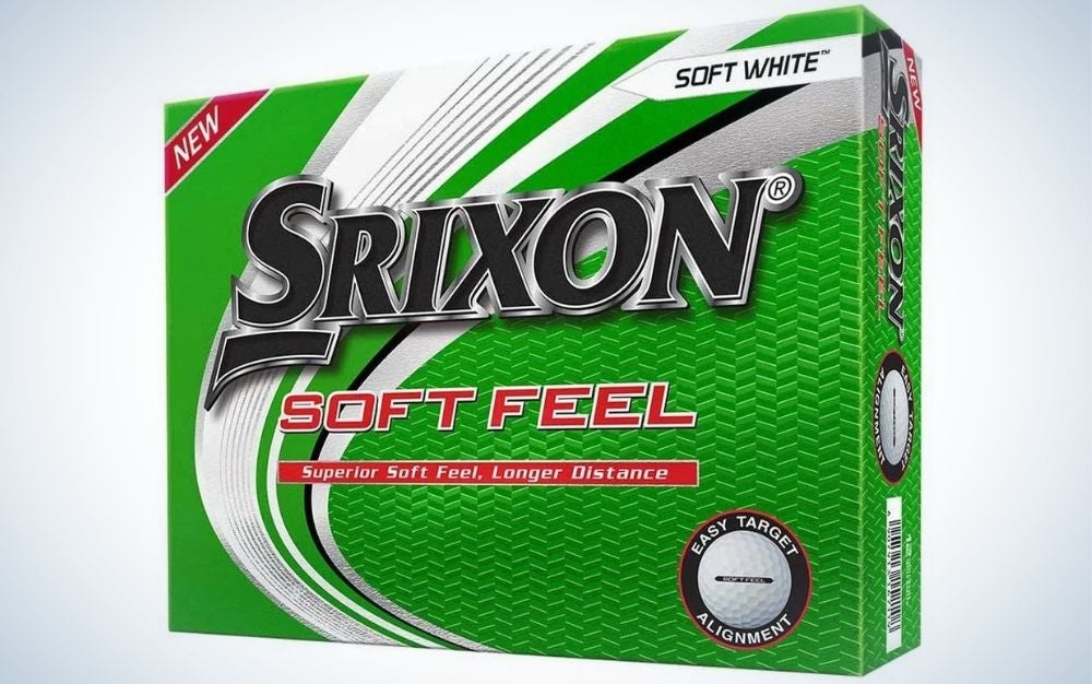A green bow with description of Srixon golf balls and soft feel lettering into it.