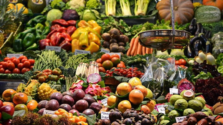 Assorted vegetables and fruit in a farmer's market