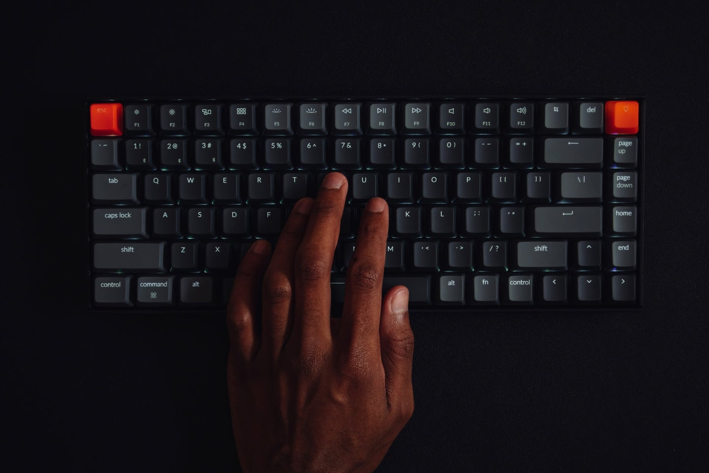 Black hands at a wireless keyboard
