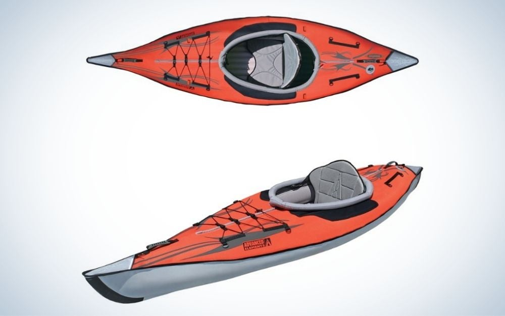 Two red and gray inflatable kayaks gift for grads who love the water