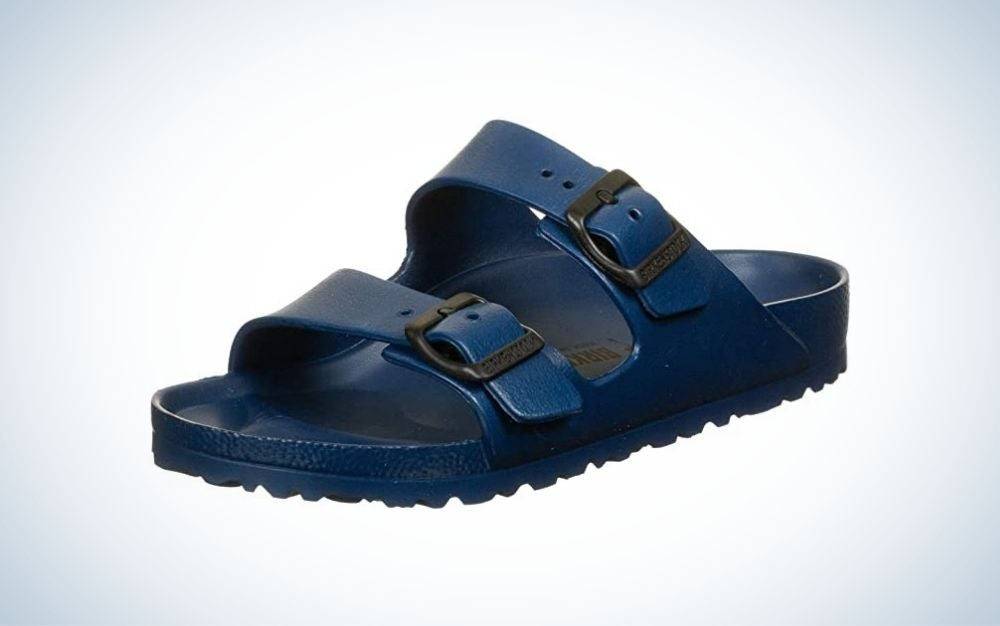 Navy, rubber sandal gift for grads who love the water