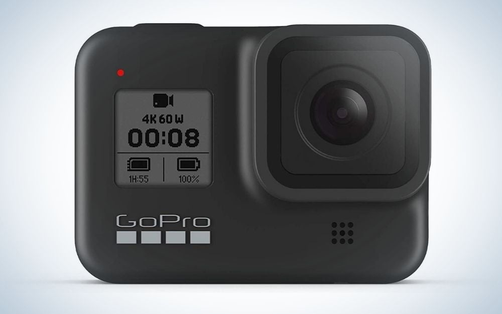 Black waterproof GoPro camera with touch screen gift for grads who love the water