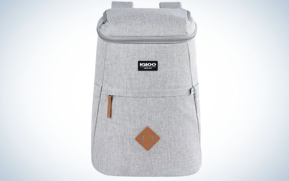 Gray Igloo cooler backpack with zipped pockets gift for grads who love the water