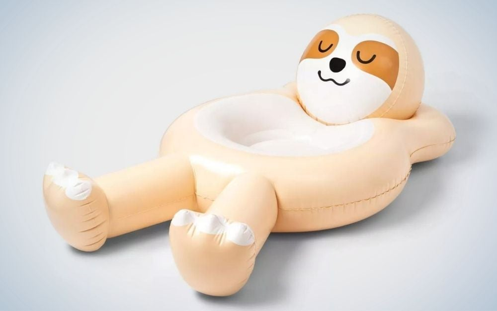 Yellow Sloth pool float with arms crossed behind the head, gift for grads who love the water