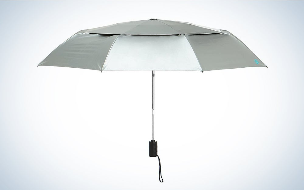 grey and white parasol