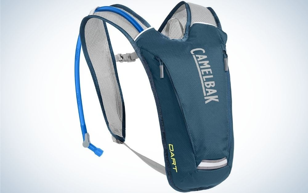 A small blue with white lettering bag with two handles to keep it into the shoulders.
