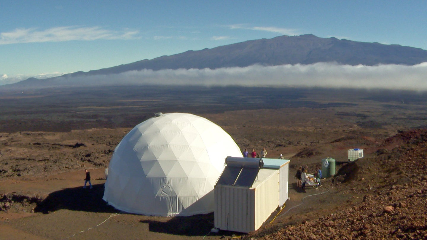 View of the dome of the HI-SEAS facility against the background of Mauna Loa.