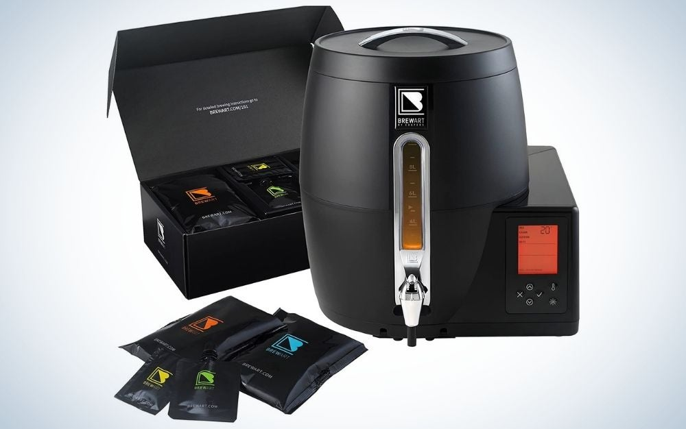 Black automated beer brewing system with a box of American Pale Ale BrewPrint