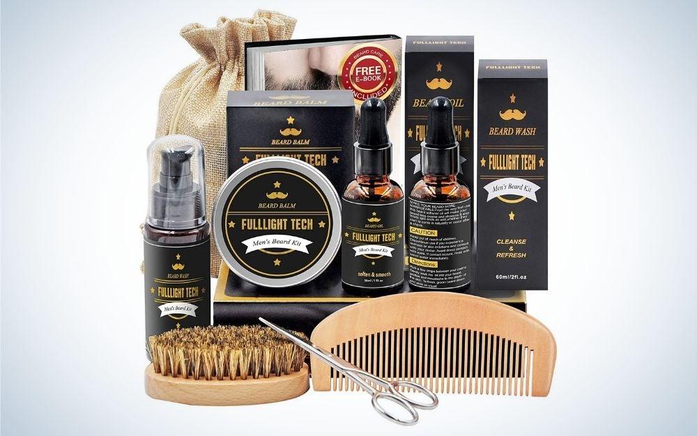 Beard kit for men including shampoo, balm, oil, beard E-book, comb, boars hair brush, and stainless steel scis-sors, storage bag