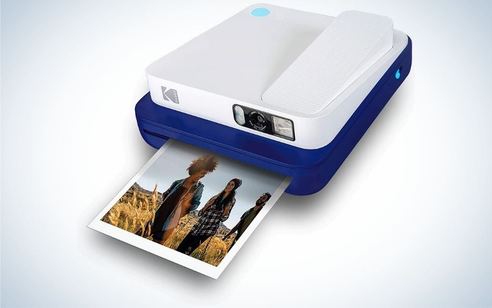 Blue instant camera for Zink photo paper