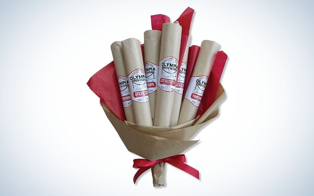 6 steam salami bouquet rapped in brown papers
