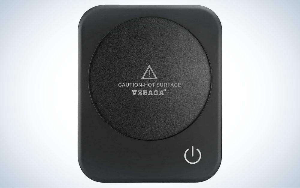 Black coffee mug warmer with turn off button