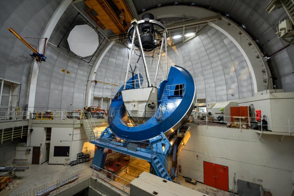 The Dark Energy Spectroscopic Instrument (DESI) installed on the Nicholas U. Mayall 4-meter Telescope on Kitt Peak National Observatory near Tucson, AZ.