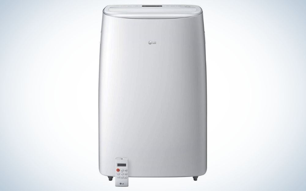 White LG portable air conditioner with remote control