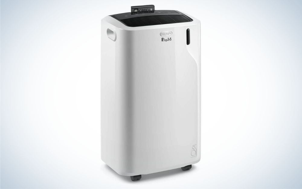 White and black portable air conditioner with black remote control