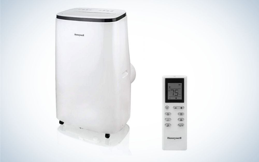 White and black portable air conditioner with remote control