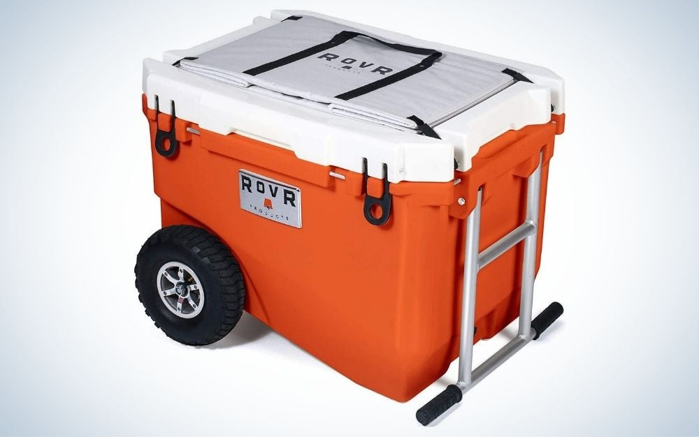 Orange cooler with wheels