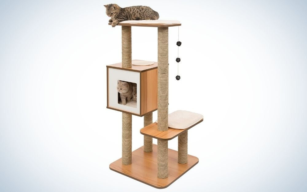 Two cats on a walnut, wood and memory foam cat tree scratching post