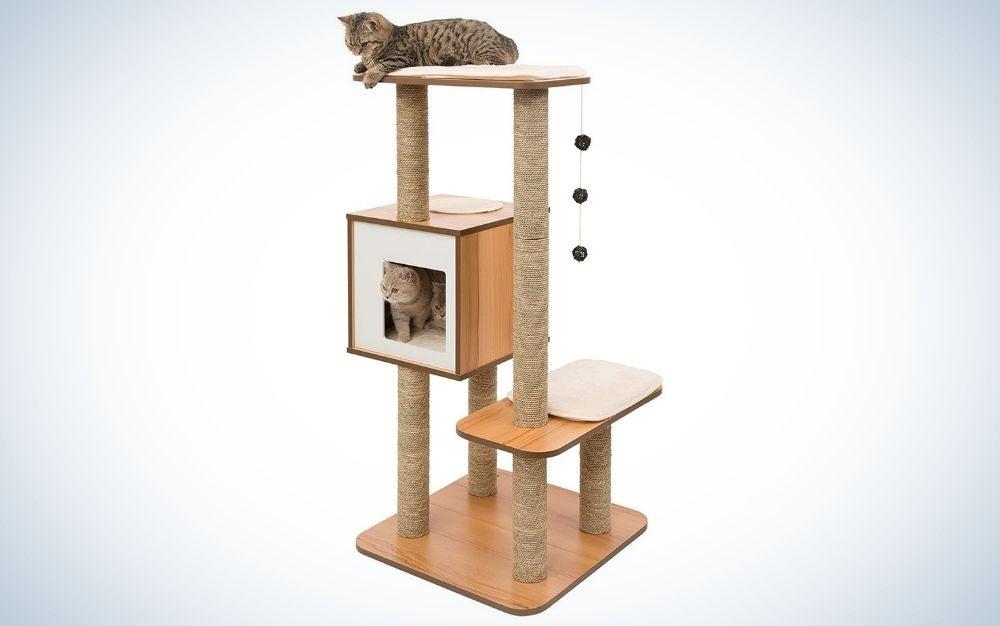 The Vesper Cat Tree is the best wooden cat tree.