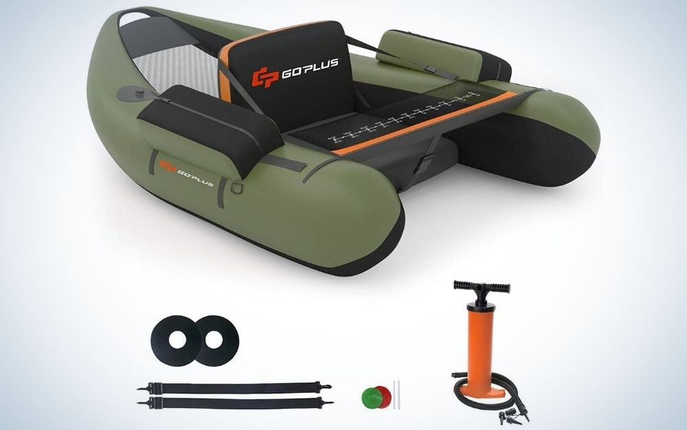 Green inflatable fishing float tube with storage pockets, fish ruler, and adjustable straps