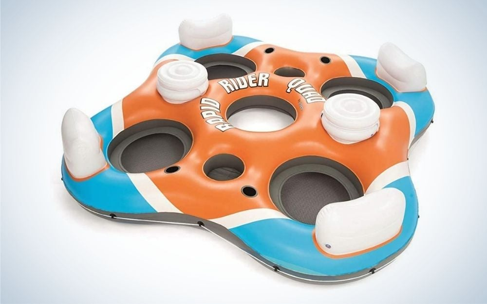 Orange, blue, and white plastic inflatable float tube for multiple people