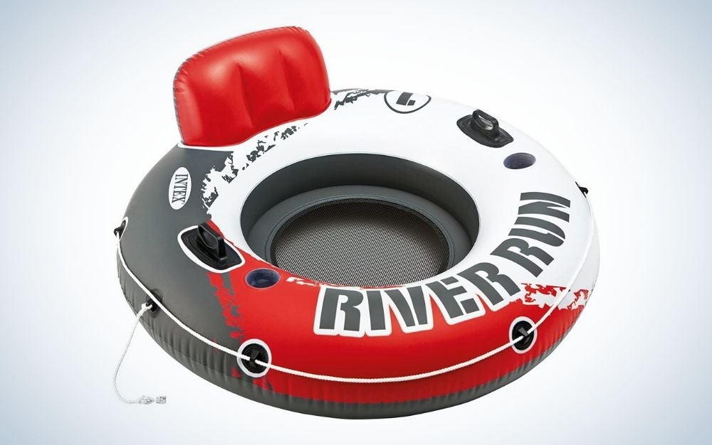 Red, white, and black inflatable float tube