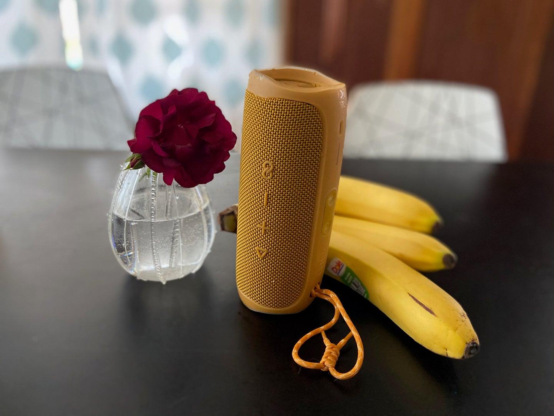 jbl flip 5 bluetooth speaker on a table