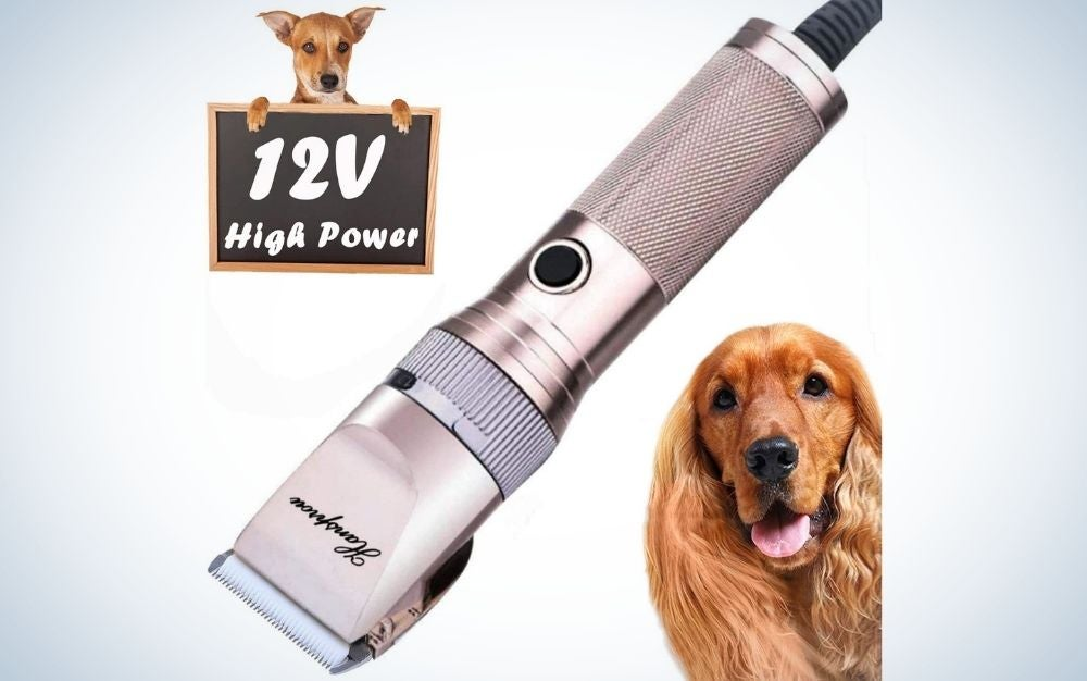 A silver machine for cutting dog hair as well as two dogs of different breeds of two brown colors.
