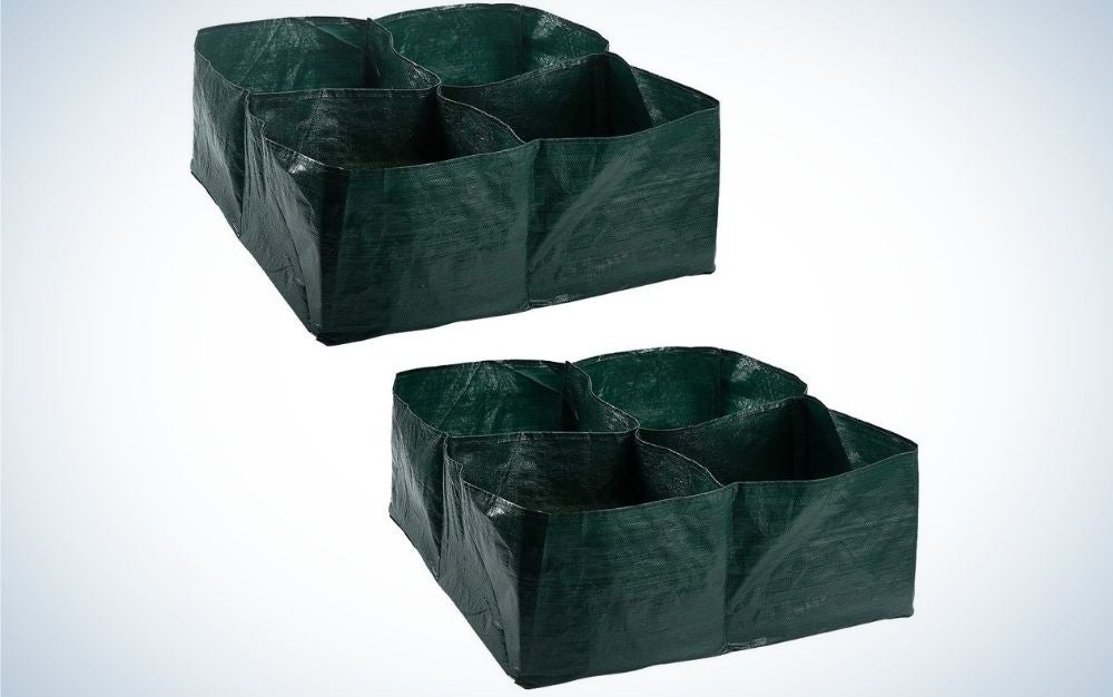 Two products of garden green color and each of them in a square shape with four divisions inside them.