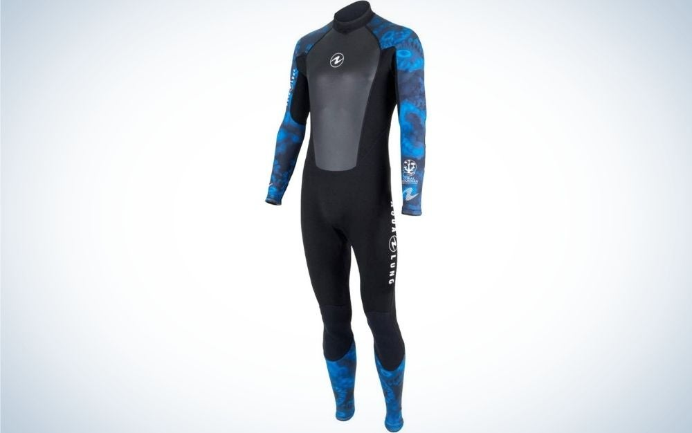 A wetsuit with long sleeves and tracksuit which is in dark gray color and sleeves and knees with blue water color.
