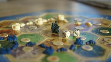 Settlers of Catan, one of the best family board games, all set up and ready to play.