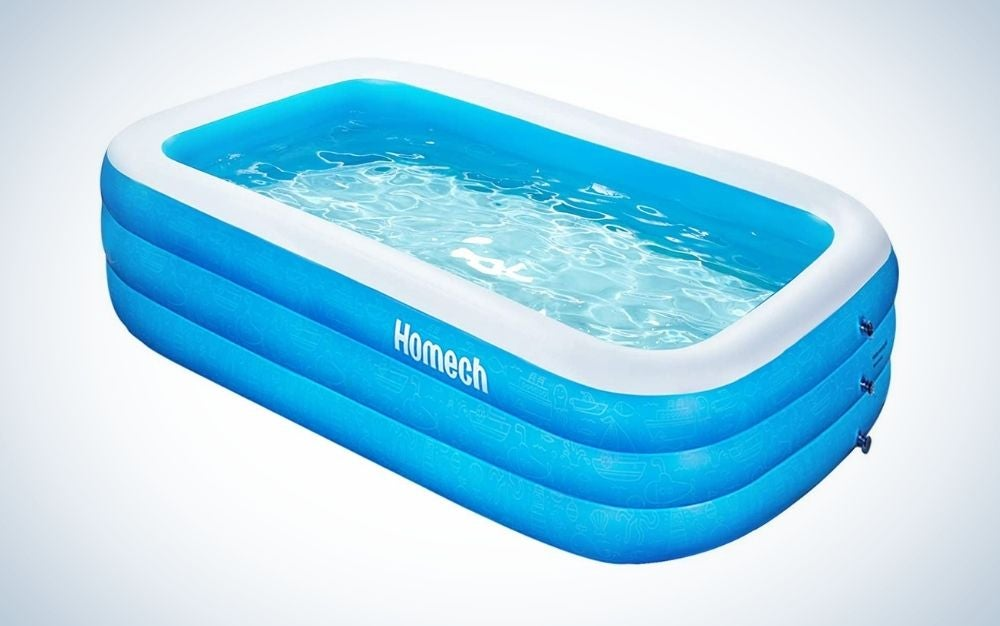 Full-sized, blue and white inflatable swimming pool