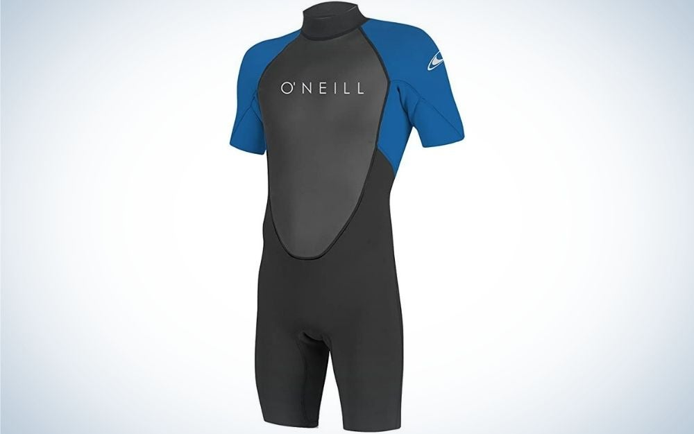 A wetsuit in short arms and short overalls all in blue, black and gray as well as with the brand name of the product.