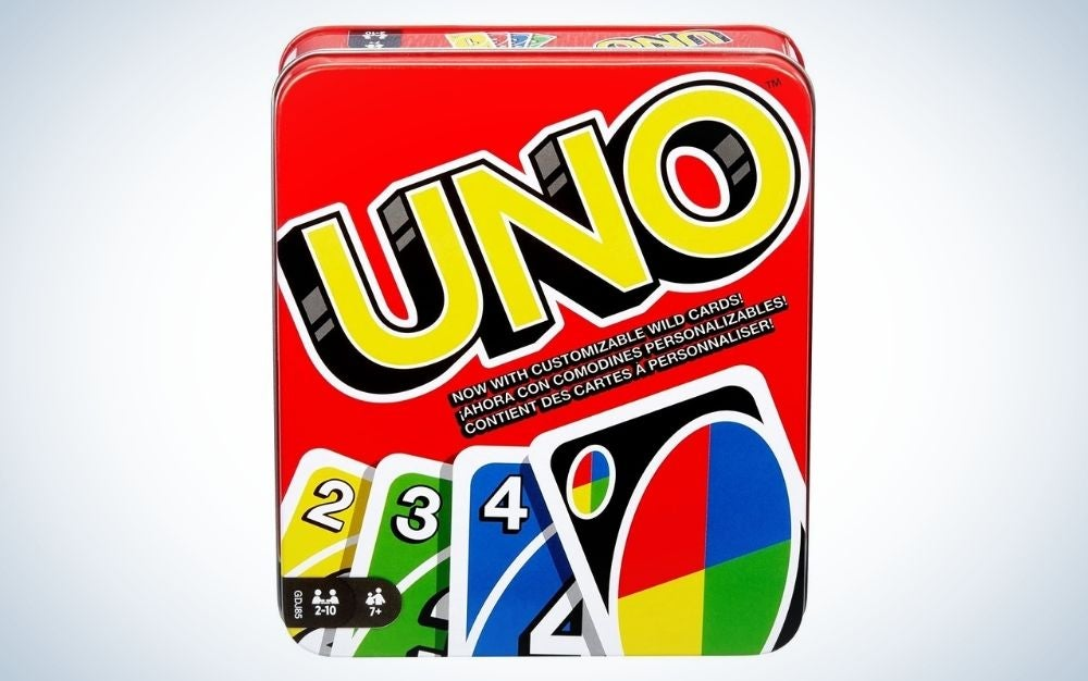 UNO family card game, with 112 cards in a sturdy storage tin for 2-4 players