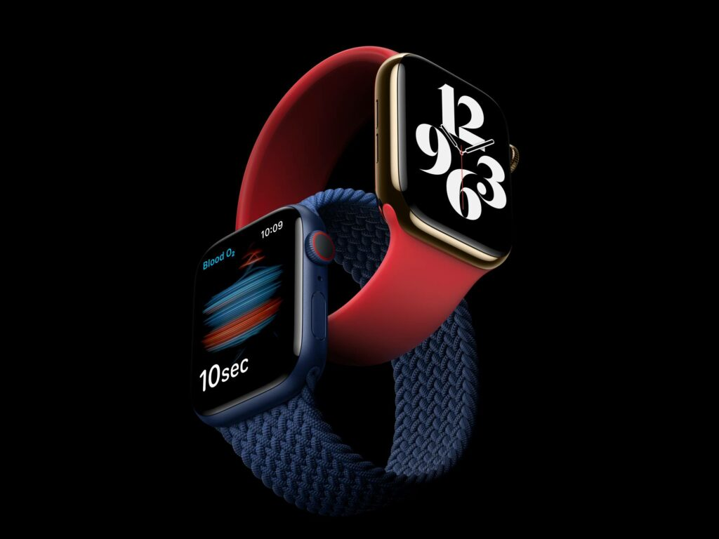 An Apple Watch Series 6 on a black background.