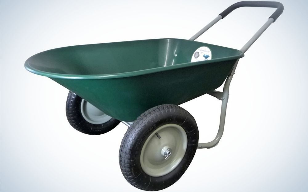 A small wheelbarrow in green color with two black thin wheels.