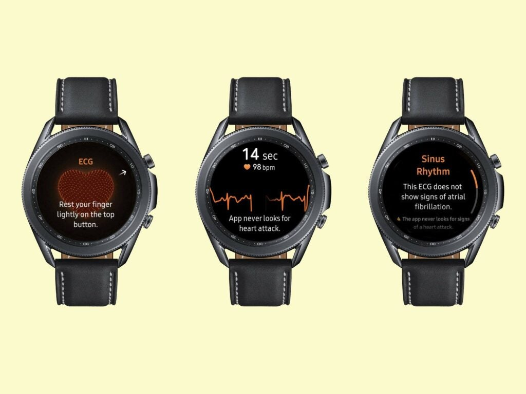 Three Samsung Galaxy Watches on a pale yellow background.