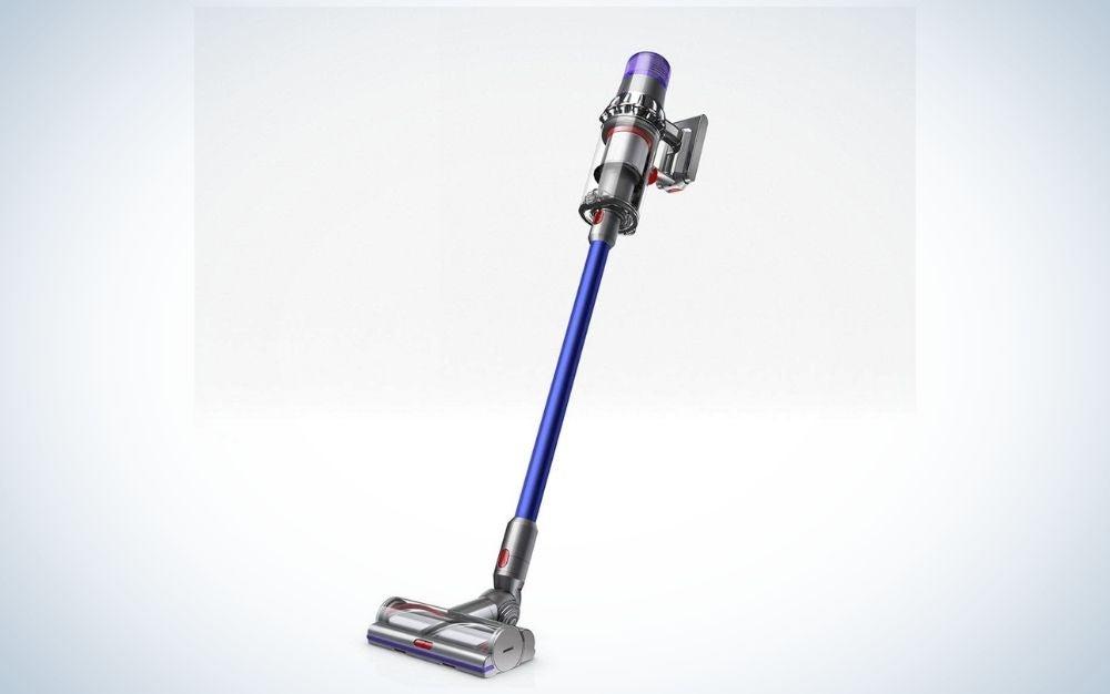 Blue cordless vacuum cleaner for hardwood floors