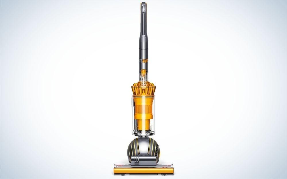 Yellow, electric corded vacuum for hardwood floors