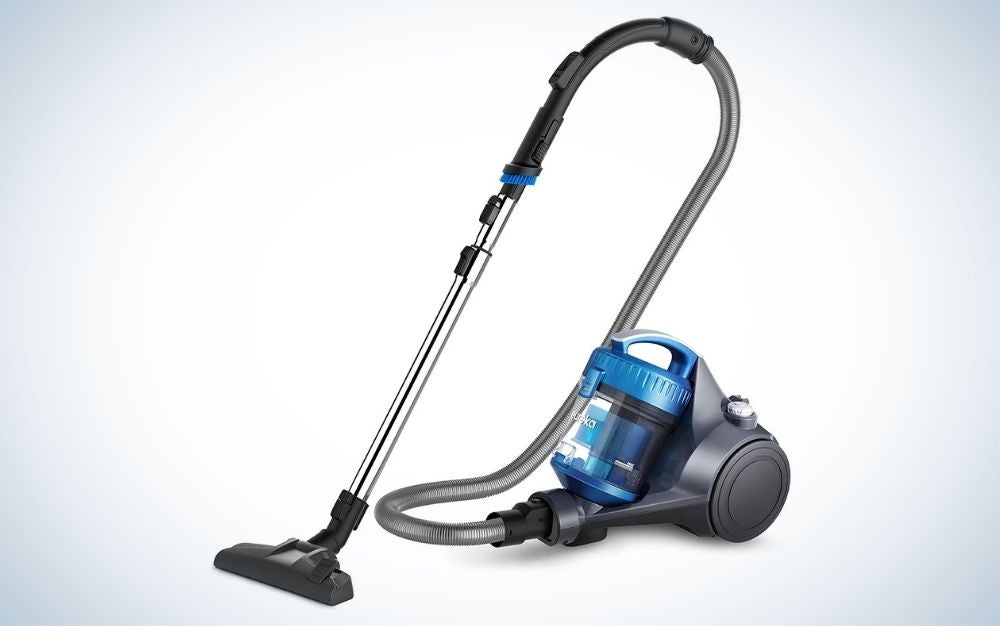 Blue and gray, electric corded vacuum for hardwood floors