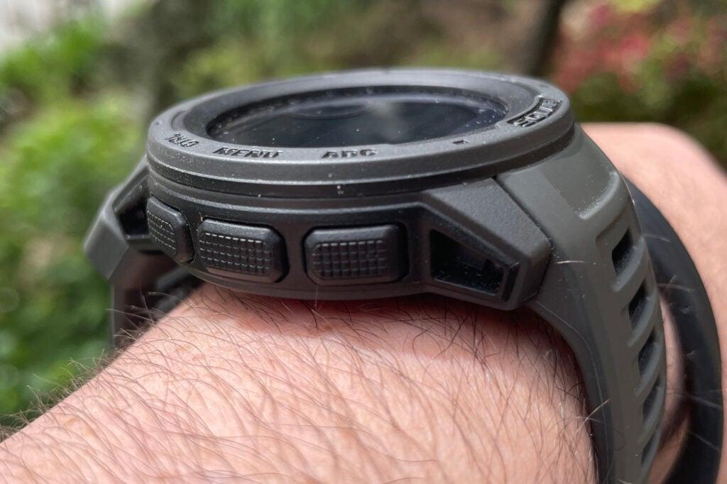 Garmin instinct solar smartwatch from the side