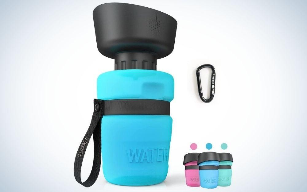 Blue and black foldable dog water bottle
