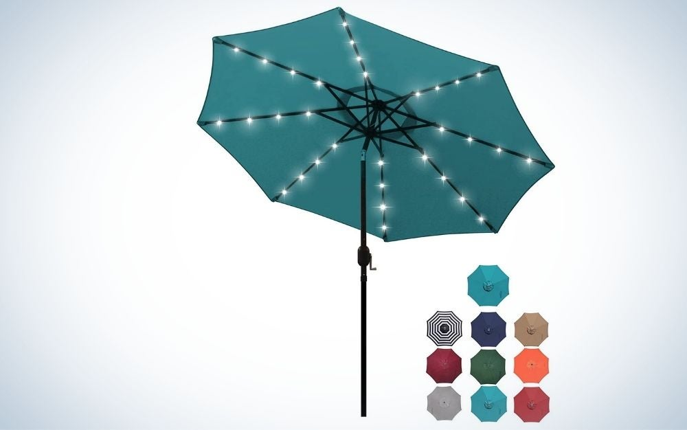 Cerulean, alloy steel patio umbrella with LED lights