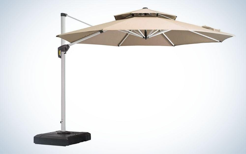 Large, beige, alloy steel frame patio umbrella
