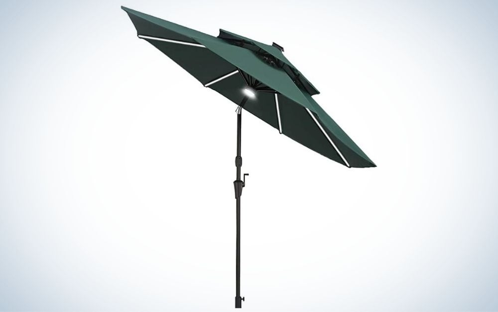 Green patio umbrella with LED strip lights and aluminum frame