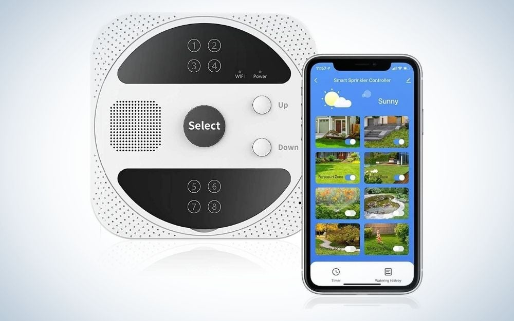 Black and white smart sprinkler controller with voice control