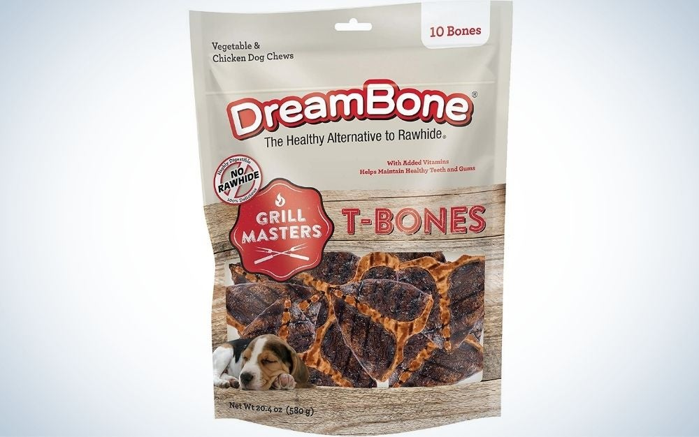 A bag of dog chews designed to look and taste like steaks.